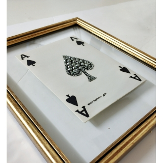 A porcelain porcelain card with Swarovski stones