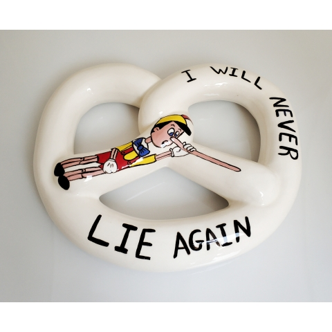 Pinocchio - a bagel for hanging on a wall